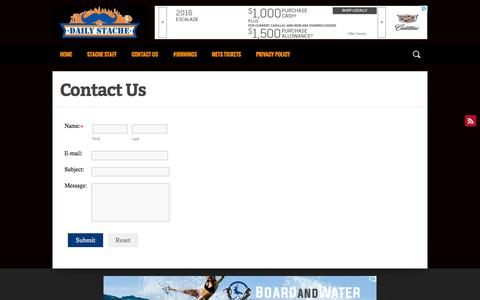 Screenshot of Contact Page dailystache.net - Contact Us - The Daily Stache - captured Aug. 29, 2016
