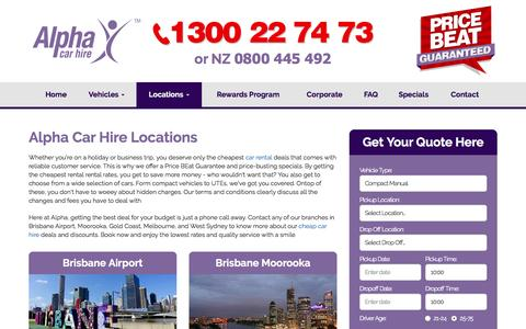 Screenshot of Locations Page alphacarhire.com.au - Alpha: Car Hire Store Locations and Opening Rental Hours - captured July 25, 2016