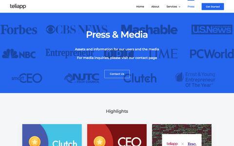 Screenshot of Press Page teliapp.com - Press – TeliApp - captured Oct. 18, 2018