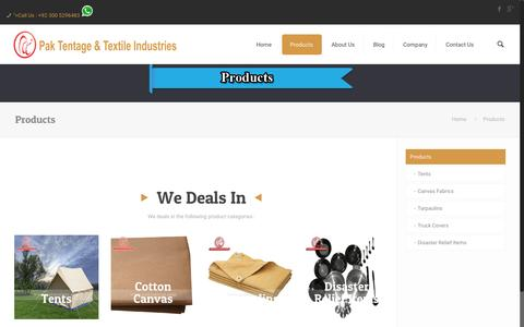 Screenshot of Products Page paktentage.com - Products 窶� PakTentage & Textile Industries - captured Oct. 18, 2016