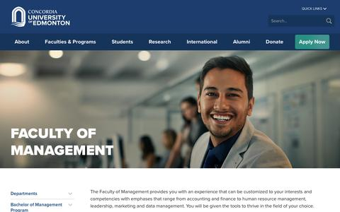 Screenshot of Team Page concordia.ab.ca - Faculty of Management - captured Sept. 25, 2018