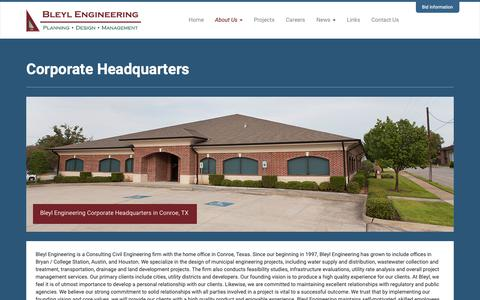 Screenshot of About Page Locations Page bleylengineering.com - Corporate Headquarters | Bleyl Engineering - captured Oct. 6, 2018