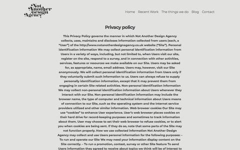 Screenshot of Privacy Page notanotherdesignagency.co.uk - Privacy - Not Another Design Agency - captured Sept. 21, 2018