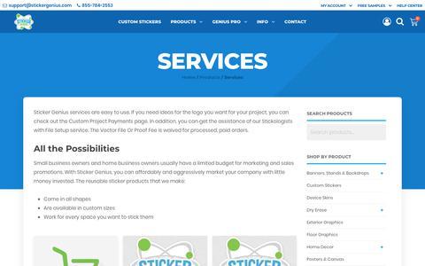 Screenshot of Services Page stickergenius.com - Services | Sticker Genius - captured July 23, 2019