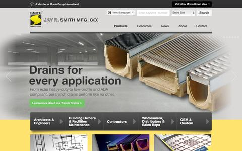 Screenshot of Home Page jrsmith.com - Engineered Plumbing & Drainage Products - Jay R. Smith MFG Co. - captured Oct. 6, 2014