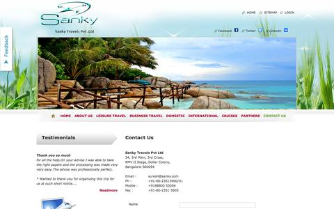 Screenshot of Contact Page sankytravels.com - Contact: Travel Agency,Agents|International,Domestic  Travel Bangalore - captured Feb. 4, 2016