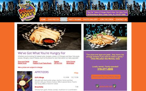 Screenshot of Menu Page doughyjoeys.com - Doughy Joey's Peetza Joynt Menu | Cedar Falls, IA - captured June 24, 2016