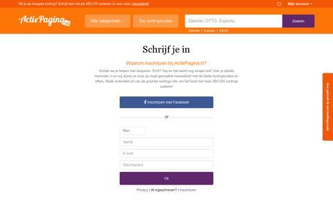 Screenshot of Signup Page actiepagina.nl - ActiePagina.nl exclusieve kortingscodes en acties voor 2016 - captured Jan. 24, 2016