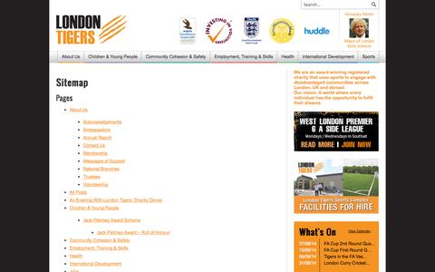 Screenshot of Site Map Page londontigers.org - Sitemap | London Tigers - captured Sept. 30, 2014