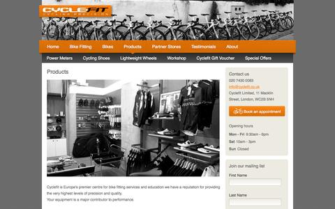 Screenshot of Products Page cyclefit.co.uk - Products | CycleFit - captured Oct. 3, 2014