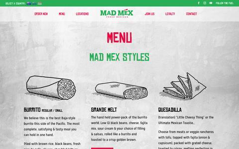 Screenshot of Menu Page madmex.com.au - Menu - Mad Mex - captured June 2, 2019