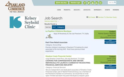 Screenshot of Jobs Page pearlandtexaschamber.us - Job Search - Pearland Chamber of Commerce, TX - captured Sept. 27, 2018