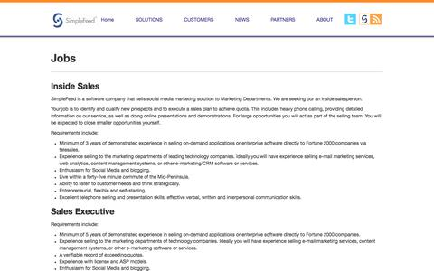 Screenshot of Jobs Page simplefeed.com - Jobs | SimpleFeed - captured July 20, 2019