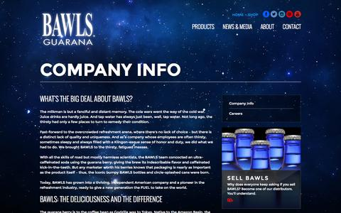 Screenshot of About Page bawls.com - Company Info | BAWLS Guarana - captured Sept. 19, 2014