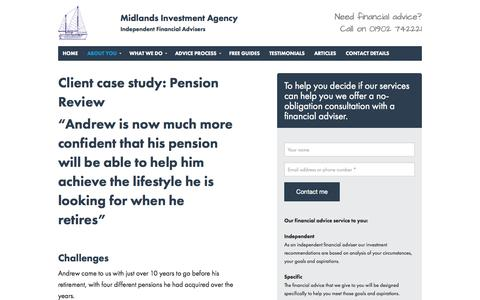 Screenshot of Case Studies Page miadvice.co.uk - Case Studies - captured Oct. 27, 2014