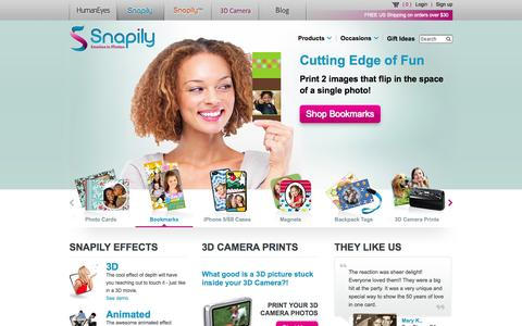 Screenshot of Home Page snapily.com - 3D Photo Gifts & Animated Photo Gifts From Snapily - captured Sept. 25, 2014