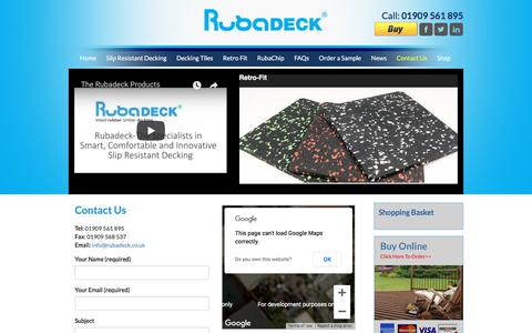 Screenshot of Contact Page rubadeck.co.uk - Contact Rubadeck - captured Sept. 21, 2018