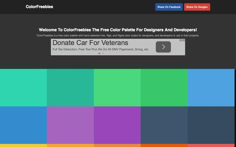 Screenshot of Home Page colorfreebies.com - ColorFreebies | 40 Hand Selected Color Codes - captured Sept. 1, 2015
