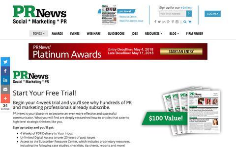 Screenshot of Trial Page prnewsonline.com - Start Your Trial – PR News - captured Feb. 23, 2018