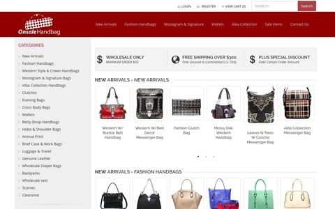 Screenshot of Home Page onsalehandbag.com - Wholesale Handbags - Fashion Handbags, Purses & Wallets - Onsale Handbag - captured Aug. 24, 2016