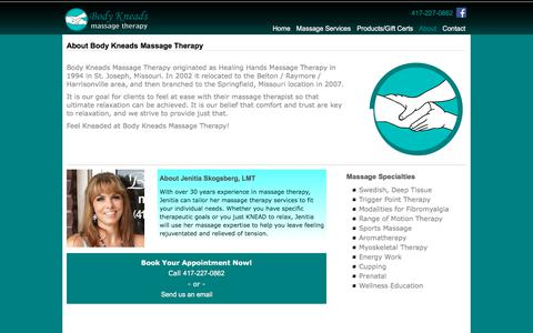 Screenshot of About Page bodykneadstherapy.com - Springfield, MO Massage Therapists - Body Kneads Massage Therapy - captured July 3, 2018