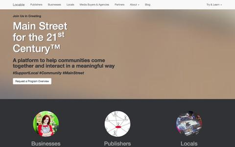 Screenshot of Home Page locable.com - Locable - Main Street for the 21st Century - captured Sept. 19, 2014