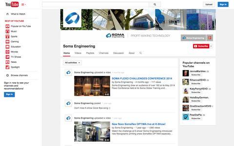 Screenshot of YouTube Page youtube.com - Soma Engineering  - YouTube - captured Nov. 4, 2014