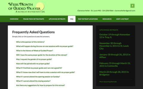 Screenshot of FAQ Page weekofguidedprayer.org - Frequently Asked Questions - captured Oct. 26, 2014