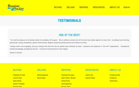 Screenshot of Testimonials Page riverfront.com.au - Riverfront Real Estate specialises in real estate in New South Wales (NSW)   riverfront.com.au - Testimonials - captured Oct. 29, 2018