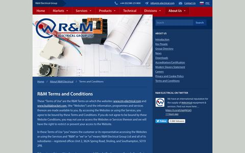 Screenshot of Terms Page rm-electrical.com - R&M Terms & Conditions | R&M Electrical Group - captured Oct. 5, 2017