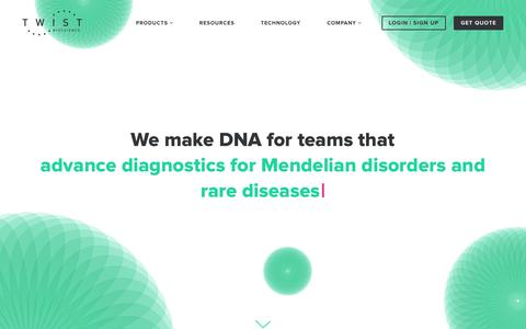 Screenshot of Home Page twistbioscience.com - Twist Bioscience | We lead innovation in DNA synthesis - captured Nov. 4, 2018