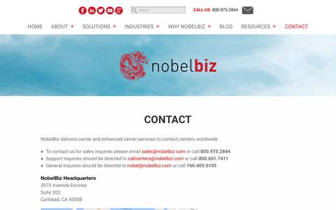 Screenshot of Contact Page nobelbiz.com - Contact – NobelBiz - captured Dec. 20, 2016