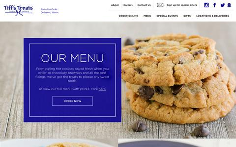 Screenshot of Menu Page cookiedelivery.com - Tiff's Treats Cookie Delivery - Online Menu - captured May 2, 2019
