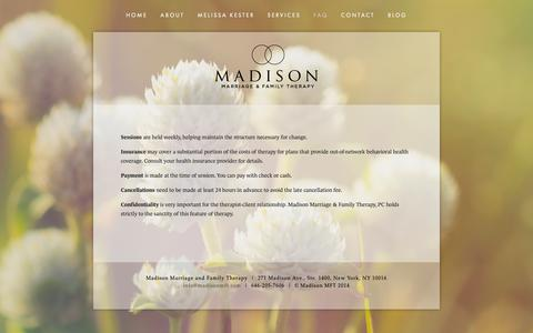 Screenshot of FAQ Page madisonmft.com - FAQ — Madison Marriage and Family Therapy - captured Oct. 2, 2018
