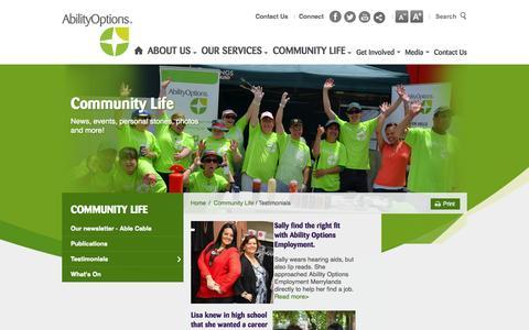 Screenshot of Testimonials Page abilityoptions.org.au - Testimonials - captured Oct. 4, 2014