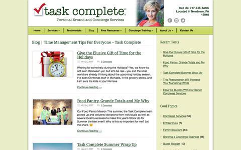 Screenshot of Blog taskcomplete.com - Blog|Time Management Tips For Everyone |Task Complete | Kellyann Schaefer - captured Nov. 14, 2017