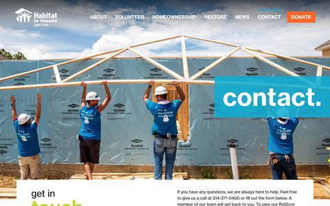 Screenshot of Contact Page habitatstl.org - Contact — Habitat for Humanity - Saint Louis - captured Sept. 26, 2018