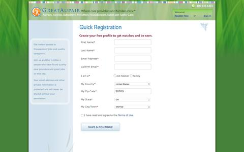 Screenshot of Signup Page greataupair.com - Au Pair Jobs | Family Care: Nanny, Sitter, Assistant, Senior Home Care - captured June 23, 2016