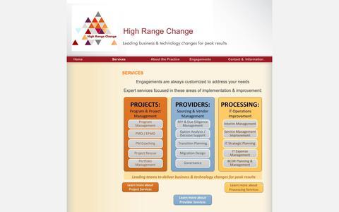 Screenshot of Services Page highrangechange.com - High Range Change - Services - captured Nov. 5, 2018