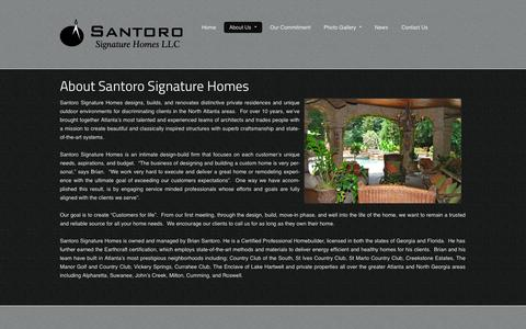 Screenshot of About Page santorohome.com - Custom Home Builder in Alpharetta, Cumming, John's Creek, Suwanee - captured Oct. 4, 2014