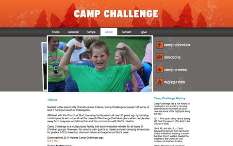 Screenshot of About Page gocampchallenge.com - » about - captured Oct. 2, 2014