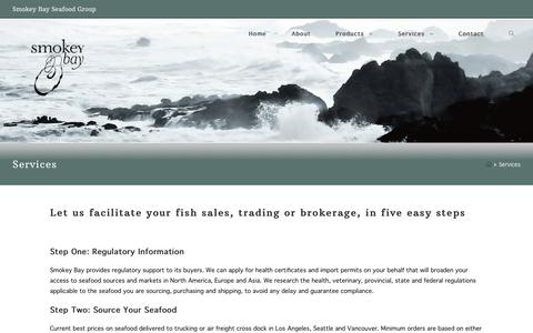 Screenshot of Services Page smokeybay.com - Marketing Services for the Aquaculture Industry | - captured Oct. 18, 2018