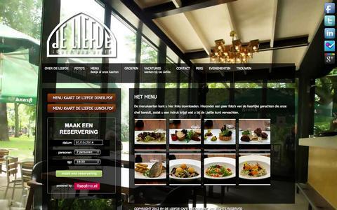 Screenshot of Menu Page deliefdeamsterdam.nl - Menu - Cafe Restaurant De Liefde Amsterdam - captured Oct. 1, 2014