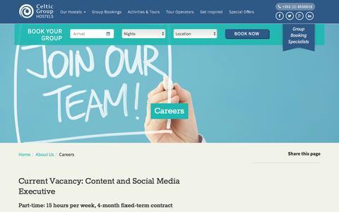 Screenshot of Jobs Page celticgrouphostels.com - Careers | Celtic Group Hostels - captured Dec. 7, 2015