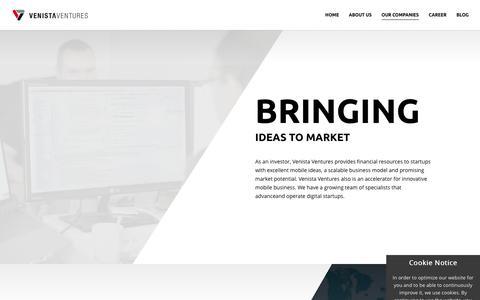 Screenshot of Support Page venista-ventures.com - Our Companies | Venista Ventures - captured Oct. 20, 2018