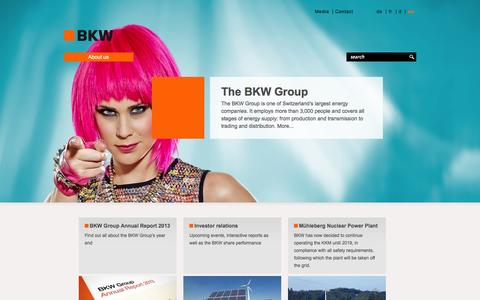 Screenshot of Home Page bkw.ch - Welcome to BKW Energy Ltd. - BKW Energy Ltd. - captured Sept. 23, 2014