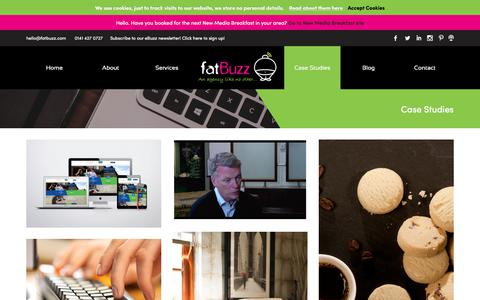 Screenshot of Case Studies Page fatbuzz.com - Case Studies Archive - fatBuzz - captured July 17, 2018
