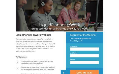 Screenshot of Landing Page liquidplanner.com captured Feb. 14, 2016