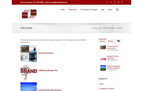 Screenshot of Case Studies Page thinkingfutures.net - Thinking Futures   –  Case Studies - captured Sept. 30, 2014