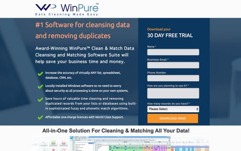 Screenshot of Landing Page winpure.com - Award-Winning Data Cleansing and Matching Software. - captured March 31, 2018